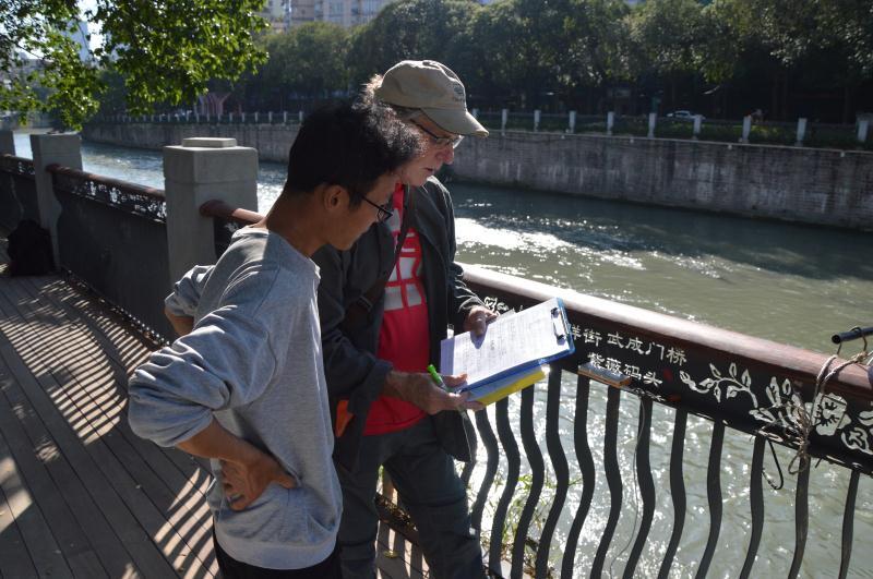 Fisherman interview along the Fu River in Chengdu, China, 2019.